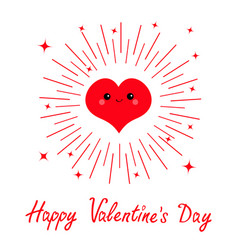 happy valentines day red heart face head icon vector image