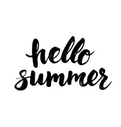 hello summer card with hand drawn brush lettering vector image vector image