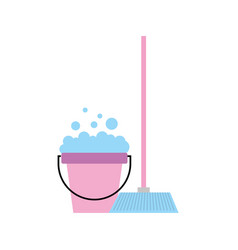 House broom with bucket vector
