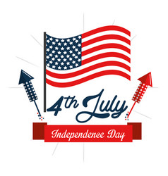 Independence day with fireworks and flag vector