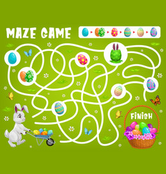 Kid maze game help easter rabbit choose right path vector