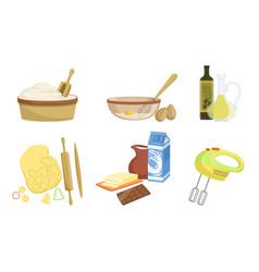 kitchen tools and utensils set baking ingredients vector image