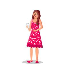 Lactose intolerance girl hold milk glass vector