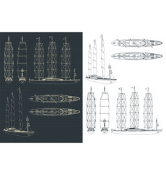 large modern sailing ship drawings vector image