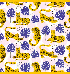 Leopard and tropical leaves pattern vector