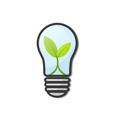 light bulb with young green leaf plant isolated vector image