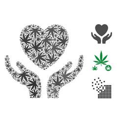 Love heart care hands collage of marijuana vector