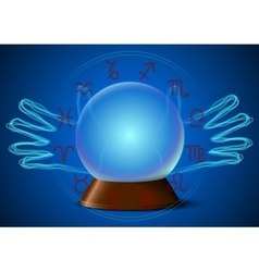 Magic ball with fortune teller hands and zodiac vector
