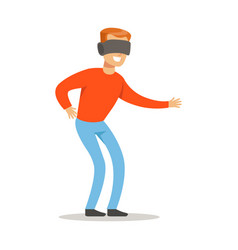 Man in virtual reality glassespart of happy vector