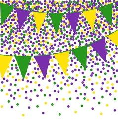 Mardi Gras bunting background with confetti vector