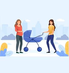 meeting pregnant women vector image