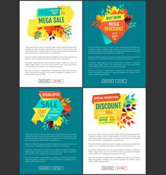 Mega sale discount posters vector