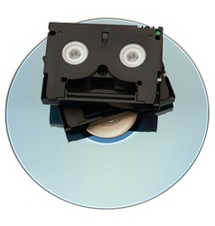 MiniDV Tape over DVD vector image