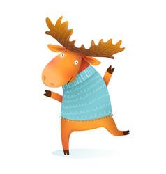 moose or elk character wearing winter warm sweater vector image