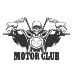 Motor Club Emblem Death on a motorcycle in glasses vector