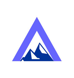 mountains abstract letter a logo icon vector image