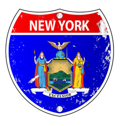 New york flag icons as interstate sign vector