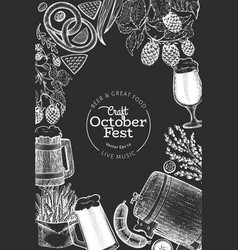 octoberfest design template hand drawn on chalk vector image