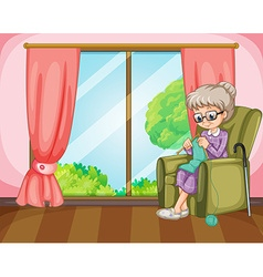 Old lady knitting in the room vector image