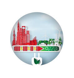 paper art and craft of environment cityscape vector image