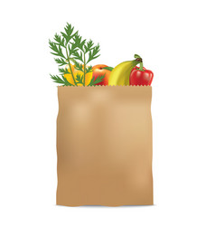 paper bag with fruits and vegetables vector image