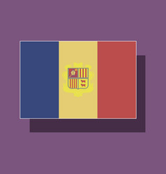 Paper sticker on theme flag of andorra vector