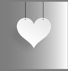 paper white heart and gray background vector image
