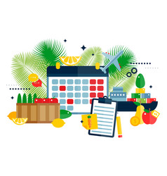 Plan import fruits icons vector