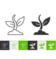 Plant simple black line icon vector