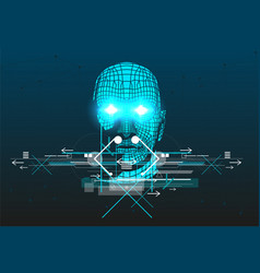 Poster with 3d man head vector