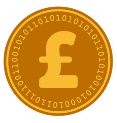 Pound sterling digital coin vector