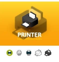 Printer icon in different style vector