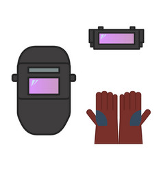 printset of welding equipment helmet automatic vector image