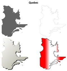 Quebec blank outline map set vector image