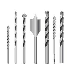 realistic 3d detailed metallic drill bits set vector image