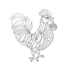 Rooster symbol of 2017 for Chinese calendar Thin vector