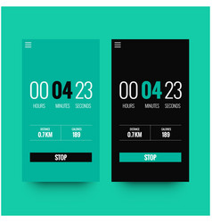 Running timer app ui with distance and calories vector