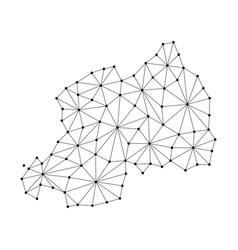 Rwanda map of polygonal mosaic lines network rays vector