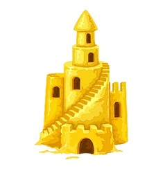 Sand castle with towers vector