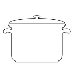 Saucepan black color path icon vector