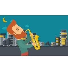 Saxophonist playing in the streets at night vector