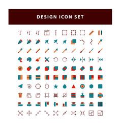 set editing design icon with flat style design vector image