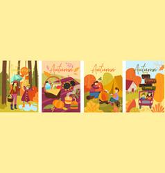 Set four colorful depictions autumn life vector