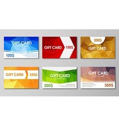 Set polygonal gift cards vector image