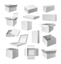 set realistic white boxes for cargo delivery vector image