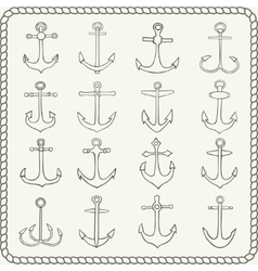 silhouettes hand drawn anchors vector image