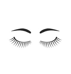 Simple eyelashes and eyebrows black logo vector
