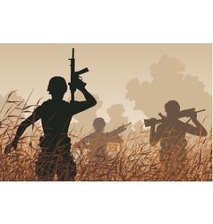 Soldier patrol vector