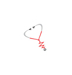 stethoscope for heart beat rate examination vector image