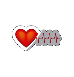 sticker heart shape with beats and signs life vector image